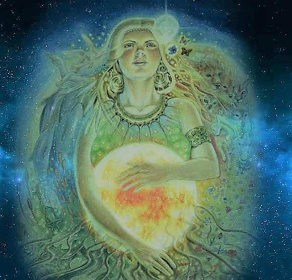 The Goddess is pregnant with the Sun God, who will be born at Yule
