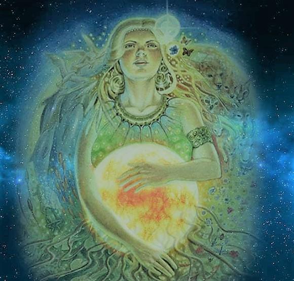 The Goddess pregnant with the Sun God