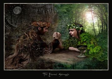 The Oak King and the Holly King challenge each other in their twice yearly ritual