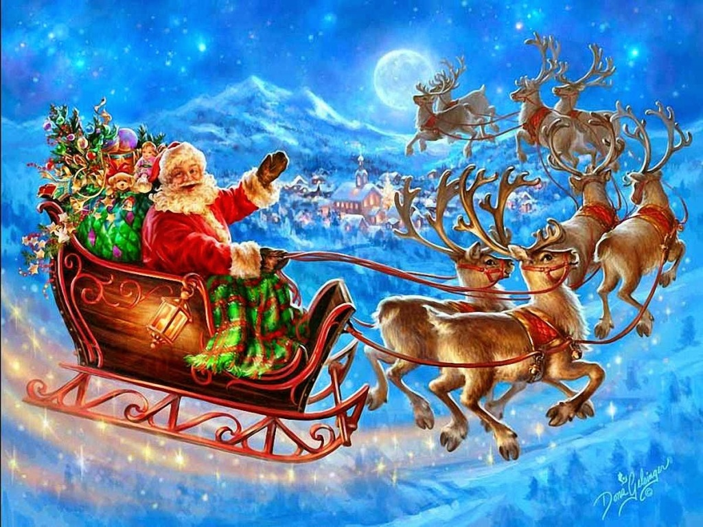 Father Christmas on his Sleigh with Gifts and pulled by his Reindeer.