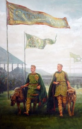 Men attending the Tailtean games with their fierce hounds.