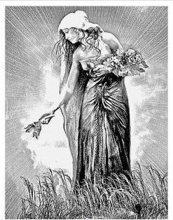 The Goddess Tailtiu tending the crops