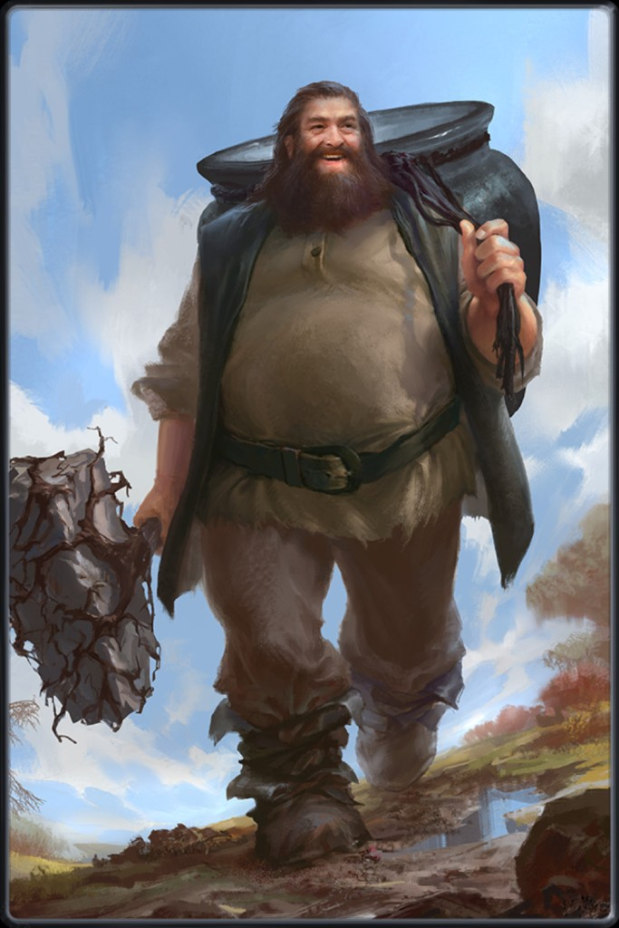 The Dagda the father God of Ireland, with his magic club which kills with one end and brings to life with the other and  his cauldron which never runs empty.