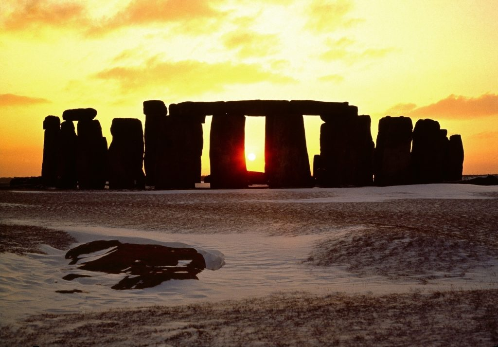 Mid Winter Solstice Sunset at Stonehenge