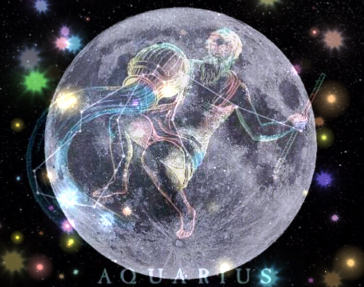 Aquarius image over Full Moon