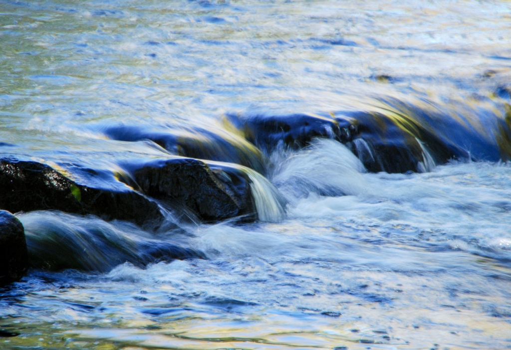 Flowing water over rocks