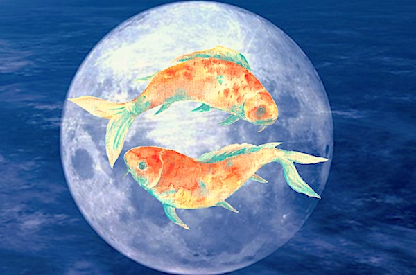 Full Moon in Pisces showing Two Fish on the face of the moon