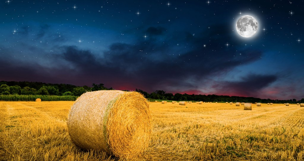 Full Moon  in a dark sky over a Wheat Field that shows a rolled bale of grain